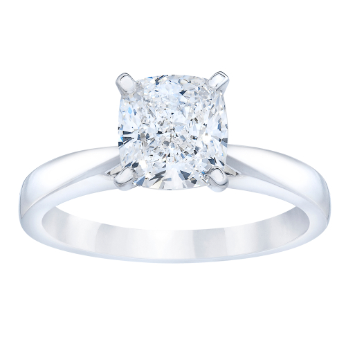 unique solitaire cushion engagement ring